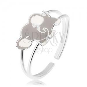 Tükörfényes gyűrű, 925 ezüst, aranyos elefánt, szürke és fehér fénymázzal fedett
