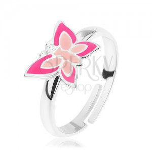 925 ezüst gyűrű, állítható, pillangó rózsaszín árnyalatban
