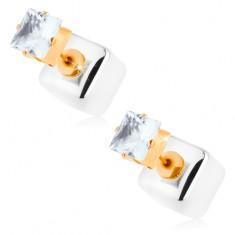 Bedugós fülbevaló, fényes kocka ezüst színben, átlátszó cirkóniával
