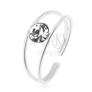 Állítható 925 ezüst gyűrű, szétágazó szárak, kerek, átlátszó cirkónia