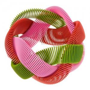Karkötő - rugalmas fonat, fényes huzalok - zöld, rózsaszín és piros színben