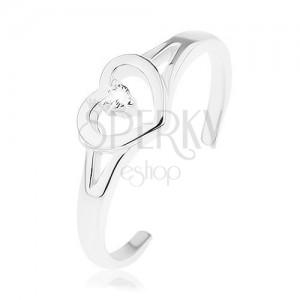 925 ezüst gyűrű, szétválasztott szárak, szív körvonal, átlátszó cirkónia