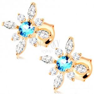 375 arany fülbevaló - virág átlátszó cirkóniából és kék topázból
