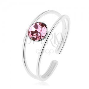 Állítható 925 ezüst gyűrű, szétágazó szárú, kerek rózsaszín cirkóniával
