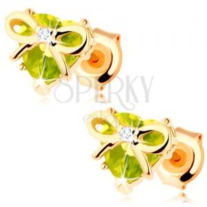 Fülbevaló 9K sárga színű aranyból - szív zöld olivinből, vékony masnival díszítve