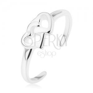 Tükörfényes 925 ezüst gyűrű, sima szárú, összekapcsolt szív kontúrok