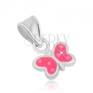 925 ezüst medál, pillangó - fényes körvonal, rózsaszín fénymáz, pontok