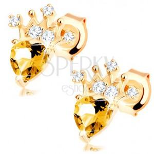 375 arany fülbevaló szív alakú sárga citrin, csillogó korona