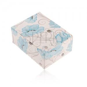 Papírdoboz gyűrűre, fülbevalóra vagy láncra, kék mákvirágos díszekkel