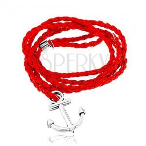 Fonott karkötő, piros színben, fényes horgony ezüst árnyalatban