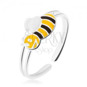 925 ezüst gyűrű, mosolygós méhecske, keskeny dupla szárral