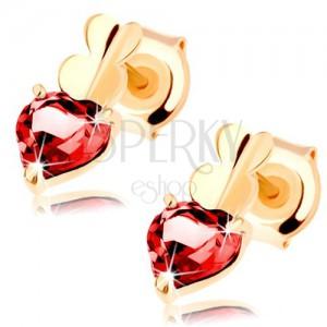 Fülbevaló 9K sárga színű aranyból - három összekapcsolt szív - sima és gránátos