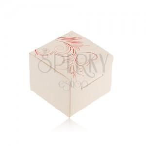 Krém színű doboz gyűrűre, fülbevalóra vagy medálra, piros szív díszek