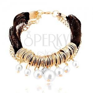Kombinált karkötő, fekete színű textil szalaggal, gyűrűk, gyöngyök, lánc