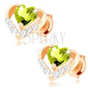 Fülbevaló 9K sárga színű aranyból - zöld olivin szív fényes kontúrban