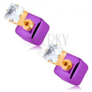 Bedugós fülbevaló, fényes lila kocka, átlátszó cirkónia fogatban