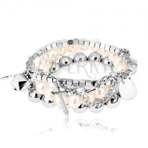 Fehér és ezüst árnyalatú multikarkötő, gyöngyök, apró medálok