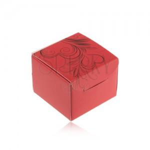 Piros színű ajándékdoboz gyűrűre, fülbevalóra vagy medálra, fekete díszítéssel