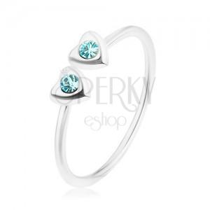 925 ezüst gyűrű, állítható, két szív kék árnyalatú cirkóniákkal