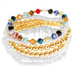 Multikarkötő fehér és arany színű golyókból, különböző színű csiszolt gyöngyök