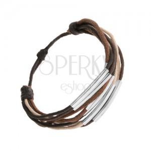 Zsinóros karkötő, barna, bézs és fekete színben, acél hengerekkel