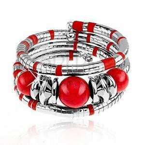 Karkötő, háromszor csukló köré tekerhető, ezüst és piros színben