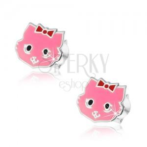 925 ezüst fülbevaló, rózsaszín cica masnival és fekete szemmel