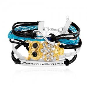 Fekete, fehér és világoskék zsinóros karkötő, INFINITY szimbólum, bagoly, biléta