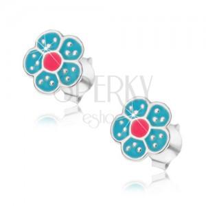 925 ezüst fülbevaló, kék és rózsaszín színű virág, apró pontokkal