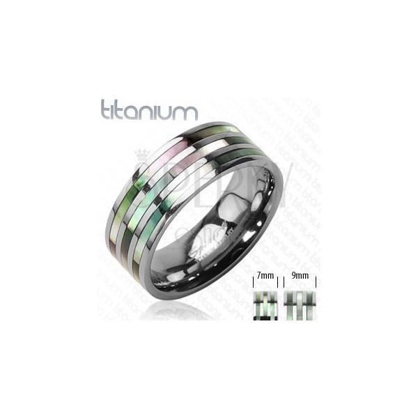 Titánium gyűrű három gyöngyházfényű sávval szivárványos árnyalatokban