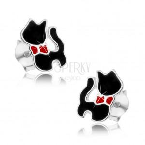 925 ezüst fülbevaló, fekete macska piros masnival