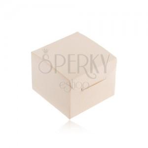 Krém színű ajándékdoboz gyűrűre, fülbevalóra vagy medálra, ferde rovátkákkal