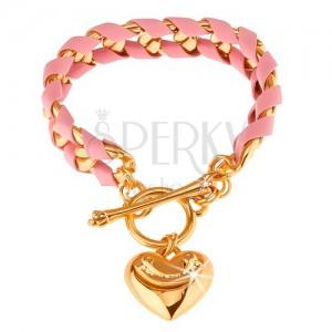 Fényes karkötő, arany színű lánc fonott rózsaszín csíkkal, szív