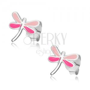 Fülbevaló, 925 ezüstből, szitakötő szárnyakkal, rózsaszín szín árnyalataiban