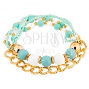 Karkötő láncból és gyöngyből, világoskék, türkiz, fehér és arany színben