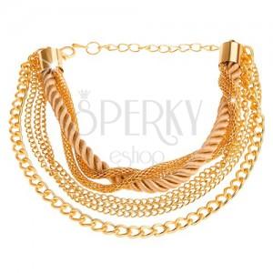 Arany színű multikarkötő, láncok különböző mintával, spirálisan hajlított zsinór