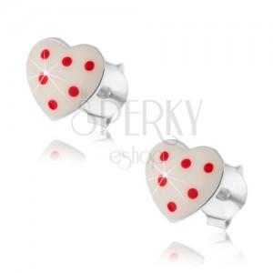 Bedugós fülbevaló, 925 ezüst, domború fehér szív piros pontokkal