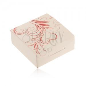 Krém árnyalatú doboz gyűrűre vagy fülbevalóra, piros szívecske körvonal, spirálok