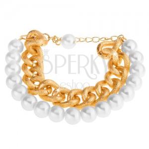 Karkötő fehér gyöngyházfényű gyöngyökből és arany árnyalatú masszív láncból