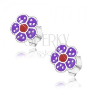 925 ezüst fülbevaló, lila és fekete színű virág pontokkal díszítve