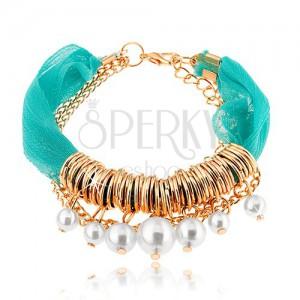 Állítható karkötő, türkiz textil szalag, gyűrűk, gyöngyök, lánc