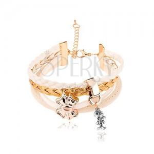 Multikarkötő fehér és arany színű zsinórból, dísz - fiú és masni