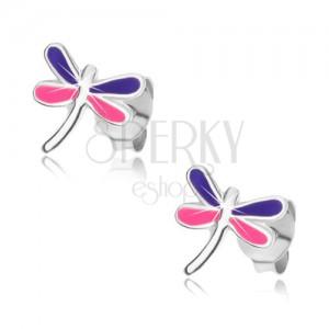 Fülbevaló 925 ezüstből, szitakötő lila és rózsaszín szárnyakkal, stekker