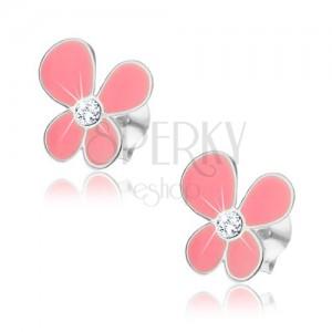 Bedugós fülbevaló, 925 ezüst, rózsaszín virág aszimmetrikus szirmokkal