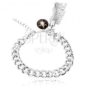 Karkötő, ezüst színű lánc, ovális medál - pók