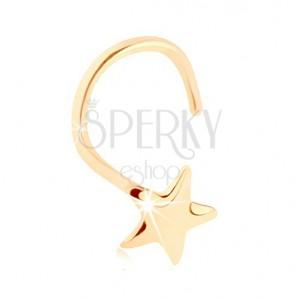 Hajlított orrpiercing 14K sárga színű aranyból - ötágú csillag, tükörfényű