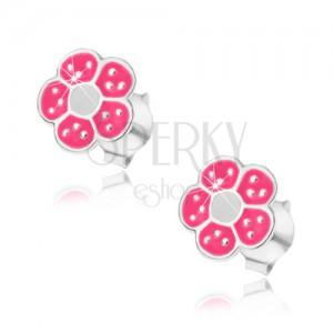 925 ezüst fülbevaló, rózsaszín és fehér színű virág, apró fényes pontokkal