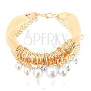 Karkötő, világossárga textil szalag, arany színű gyűrűk, fehér gyöngyök, cirkónia