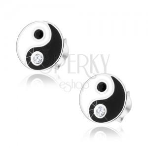 Bedugós fülbevaló, 925 ezüst, fekete-fehér Jing és Jang szimbólum, cirkóniás