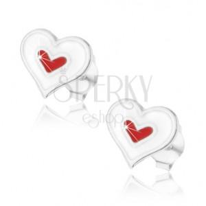 925 ezüst fülbevaló, dupla szív minta fehér és piros fénymázzal fedve